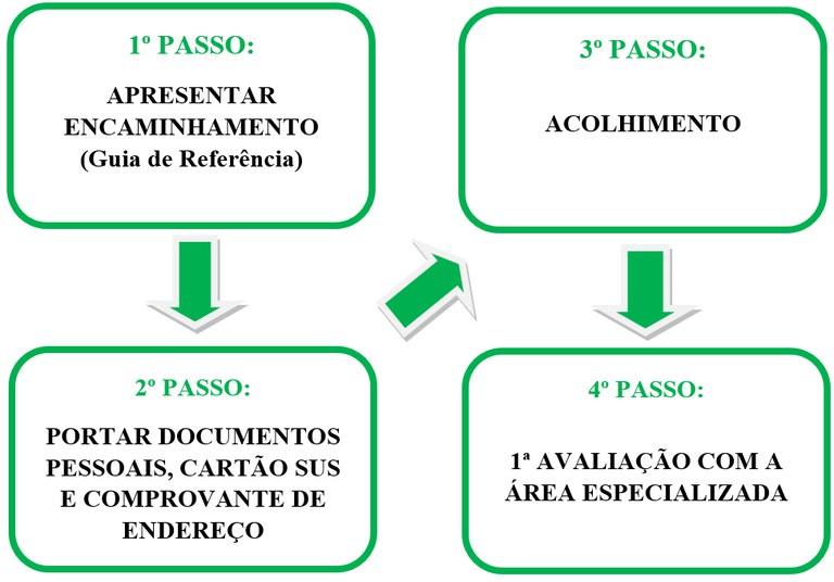 Fluxograma com os passos necessários para atendimento conforme descrito no corpo principal do texto